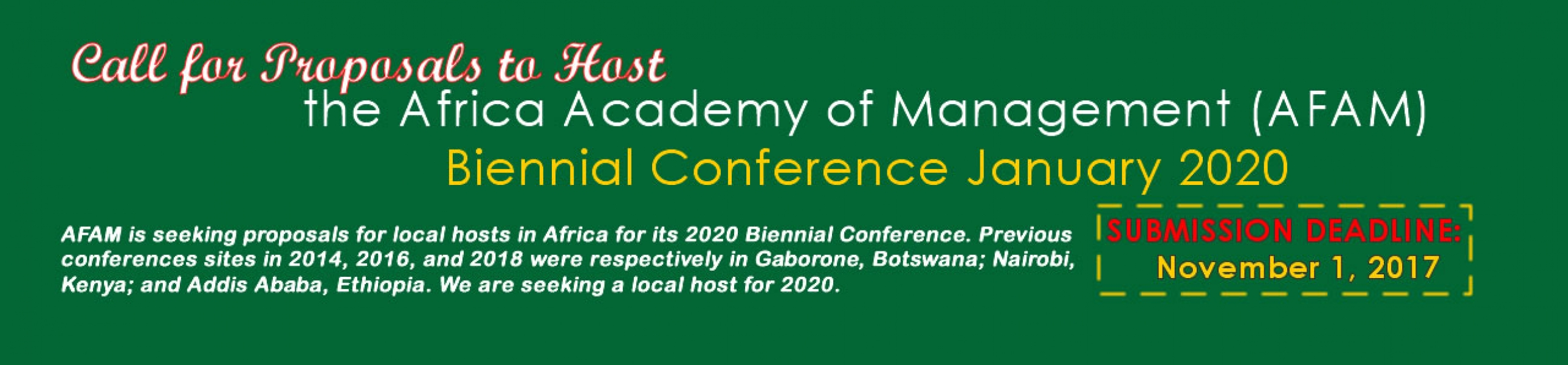 Call for Proposals for AFAM 2020 Conference