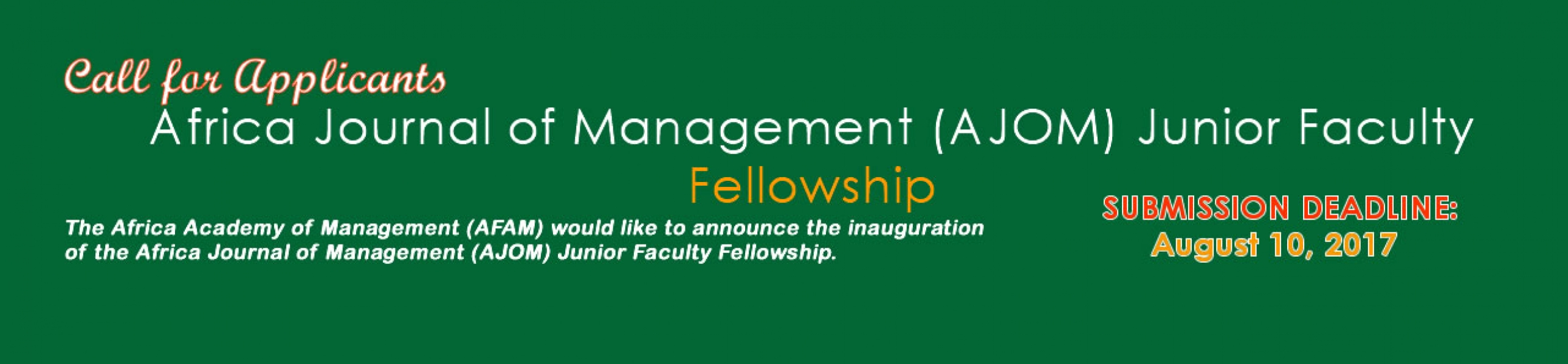 Africa Journal of Management (AJOM) Junior Faculty Fellowship